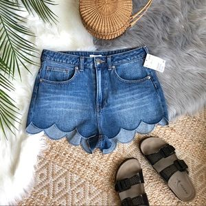 H&M High Waist Scallop Hem Denim Shorts